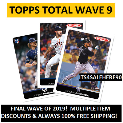 2019 Topps Total WAVE 9 Singles - YOU PICK - DISCOUNTS FOR QUANTITY + FREE SHIP!