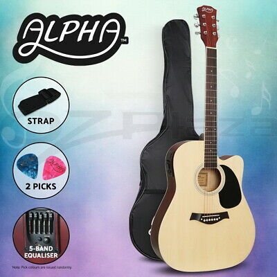 "Alpha 41"" Inch Electric Acoustic Guitar Wooden Classical 3/4 Size EQ Bass Nature"