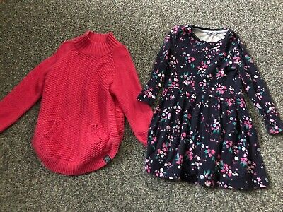 JOULES pink pretty jumper and long sleeved dress age 5 - 6