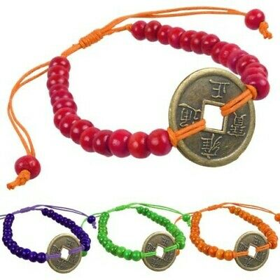 New Wooden Bead Good Luck Feng Shui Bracelets Chinese Coin Good Luck 4 Colours