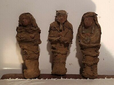 Rare Antique Ancient Egyptian 3 Ushabti Servant Minions dead mummy 1750-1670BC