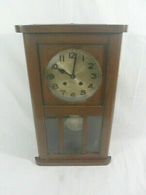 FANTASTIC VINTAGE WOODEN PENDULUM WALL CLOCK WITH KEY, (Working)