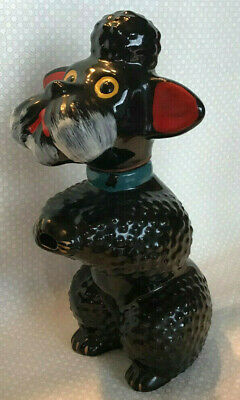 Vintage Red Clay Black Glaze Hand Painted Poodle Decanter