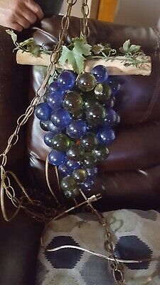 """Vintage MCM Lucite Acrylic Cluster Green Grapes Retro Hanging Lamp Light 15"""""""