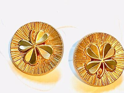 2 Rare Gold Tone Chanel Shamrock  Stamped Buttons , 18mm