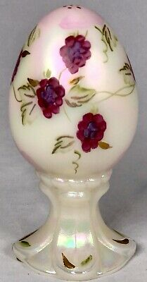 Fenton Glass Iridescent Egg Limited Edition NUMBERED Hand Painted Flowers Pink
