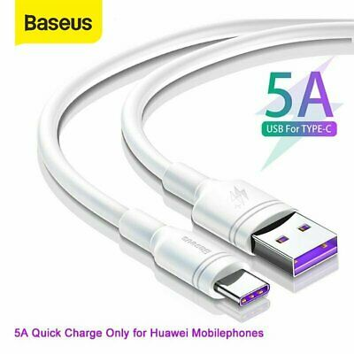 Baseus Genuine Huawei P20 P30 Pro Type C USB 5A Fast Charging Charger Cable