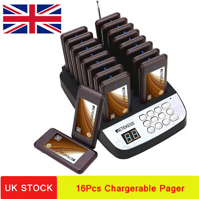 Retekess Restaurant Wireless Paging System 1*Transmitter+16*Chargerable Pager UK