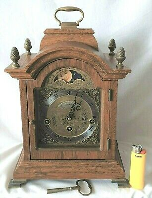 Warmink Mantel Clock Westminster Chimes 8 Day Key Wind Moon Dial, Silent Option