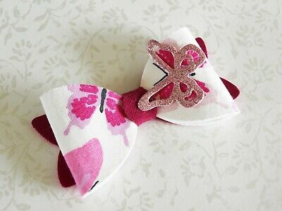 SALE - Girls Pink White Butterfly Hair Clip - Butterfly Bow HANDMADE Hair Bow