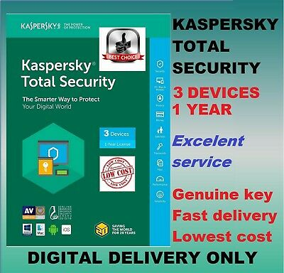 Kaspersky Total Security Antivirus 2019 2020 1 Year 3 User Device MD PC Global