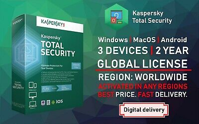 Kaspersky Total Security Antivirus 2019 2020 2 Years 3 User Device PC Global
