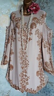 miss selfridge nude gold beaded cold shoulder 20s gatsby prom wedding dress 16