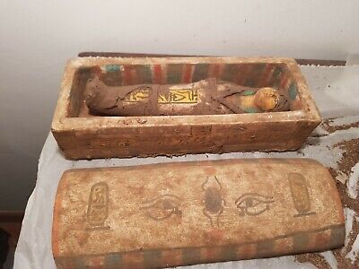 Rare Antique Ancient Egyptian Wooden Ushabti Box servant scarab Eye 1830-1750BC