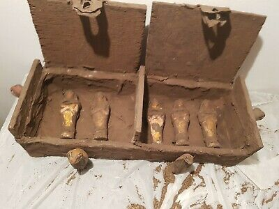Rare Antique Ancient Egyptian Wood Ushabti Box 5Ushabti Servant snack1860-1780BC