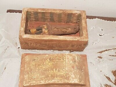 Rare Antique Ancient Egyptian Wood Ushabti Box Servant Scarab magic 1830-1740BC