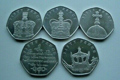 "2018 ""65TH ANNIVERSARY OF THE CORONATION"" ISLE OF MAN 50p 5 COIN SET - IoM MANX"