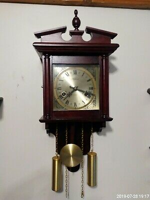 Vintage Highlands  Wall Clock with Brass Face (Finials Key and Pendulum Time)