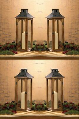 """4 Wooden Pine Candle Lanterns w/ Metal Top Glass Large 22"""" Rustic Wedding Table"""