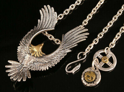 Rare China 925 Silver Hand-Carved Eagle Necklace High-End Gift Collection