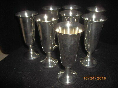 Set of 8 Sterling Silver Liquor Cups Stamped Web Sterling Aperitif Cordial Stems