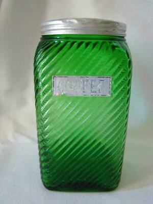 Vintage OWENS ILLINOIS Ribbed Green Glass HOOSIER Canister COFFEE JAR