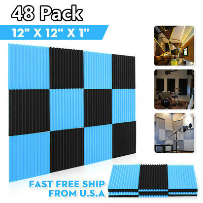 48Pack - Acoustic Panels Studio Soundproofing Foam Wedge Tiles 1''x12''x12''
