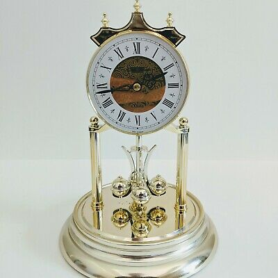 Seth Thomas Quartz 85 Glass Dome Mantel Clock with Gold Base and Accents