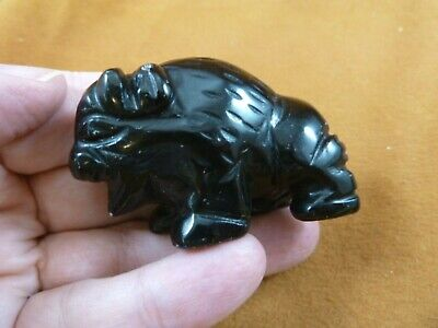 (Y-BUF-721) black Onyx BUFFALO ranch bison gemstone carving figurine gem statue