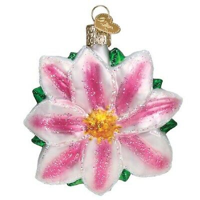 Old World Christmas Clematis Glass Ornament FREE BOX 36262 New