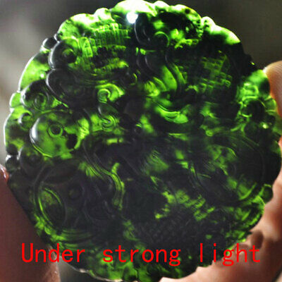 Natural Chinese Black Green Dark Jade Pendant Hand Carved Dragon Lucky Amulets