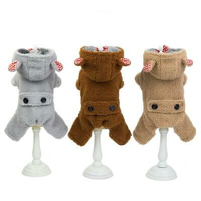 Small Large Dog Fleece Jumpsuit Winter Clothes Puppy Hoodie Coat Pet Outfits