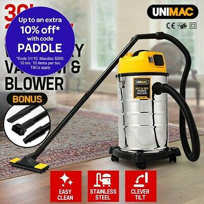 Unimac 2000W 30L Wet & Dry Drywall Vacuum Cleaner and Blower 2000W Drywall Vac