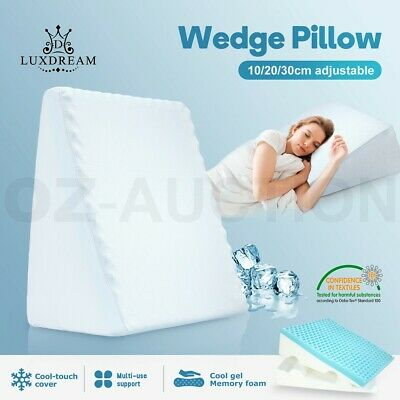Cool Gel Memory Foam Adjustable Wedge Pillow Bed Support Cushion w/ Cool Cover