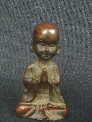 Collection Old Chinese Copper Carving Boy Buddha Statue Family Pray Decoration