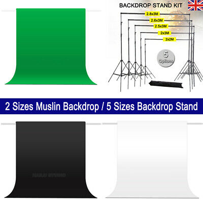 Photography Studio Backdrop Support Stand/3x3.6m/3x6m 100% Muslin Background Kit