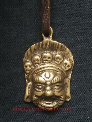Collection Old Chinese Tibet Copper Carvings Tibetan Buddha Head Statue Pendant