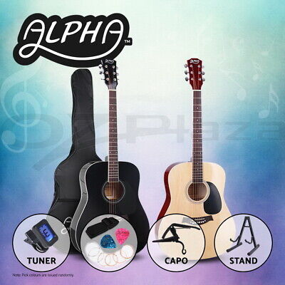 "Alpha 41"" Inch Wooden Acoustic Guitar Classical Folk Full Size Dreadnought Capo"