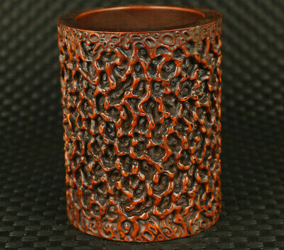 Asian old boxwood hand carved noble brush pot / vase collectible table ornament