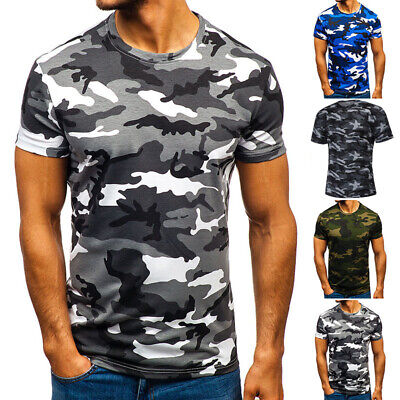 New Mens Fashion Camouflage T Shirt Army Combat Tee Summer Beach Top