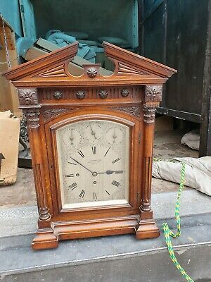 19c double Fusee oak Bracket Clock J C Jennens & son on 9 bells