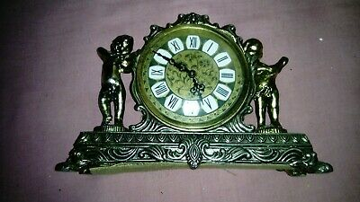 Vintage bronzed pewter mechanical mantel clock, for repair