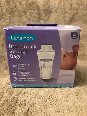Lansinoh Breastmilk Breast Pump Storage Bags, 100 Count Pre-Sterilized Bags