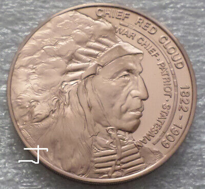 Native American Indian Chief Red Cloud Prayer Vintage Proof Bronze Medal