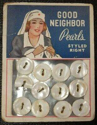 Good Neighbor Pearl Buttons Vintage /Antique Carded