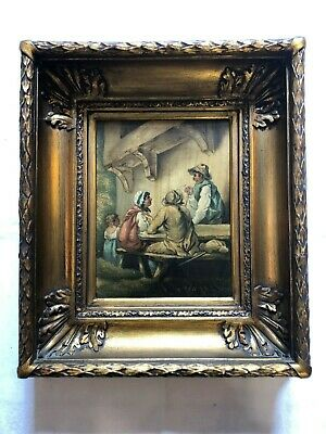 Oil Painting Old Picture Frame Empire Streets Scene Unsigned Belgium 1830