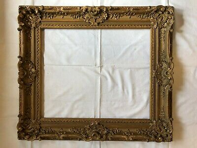 Picture Frame Old Pageantry Mirror Baroque Gold Plated Wood Stuck France 1860