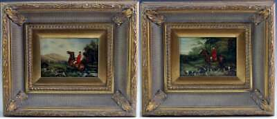 1 Or 2 Vintage Signed Oil On Panel Paintings Men On Horseback W/ Hunting Dogs
