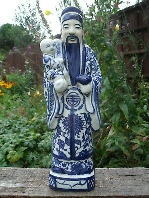 Chinese Immortal Longevity God Figure with Child  ~  signed.