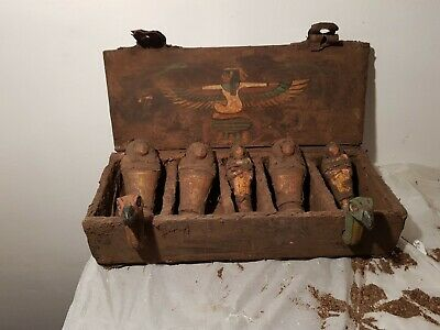 Rare Antique Ancient Egyptian Wooden Ushabti Box 5 Ushabti Servant 1860-1780BC